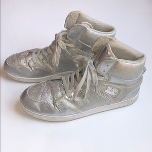 Pastry silver glitter high top sneakers